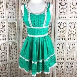 Forever 21 A line green eyelet dress size 2